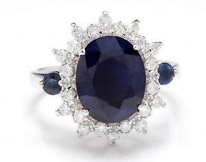 5.50Ct Natural Blue Sapphire & Diamond 14K White Solid Gold Ring