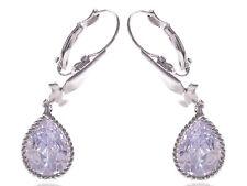 Clear White Enamel Bird Dove Crystal Harmony Teardrop Stone Earrings