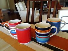 4 RARE DKNY LENOX URBAN ESSENTIALS COFFEE MUGS DONNA KAREN STRIPES