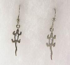 Lizard Earrings Dangle Drop .925 Sterling Silver Petroglyph Gecko Usa Made