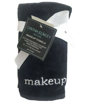 Cynthia Rowley Black Makeup Towels Soft Absorbent Cotton Embroidered Set Of 4