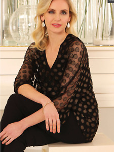 POmodoro size 16 black gold burnout spotted tunic TOP evening occasion party £70