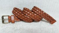 DOCKERS - Men's Casual Dress BELT - TAN BROWN - BRAIDED WOVEN Leather - Size 34