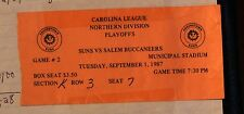 September 1, 1987 Carolina League, Northern Division Playoffs Ticket Stub