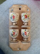 Austrian Hand Painted Arts & Crafts 4 Wooden Egg Cups & Wall Holder Pretty New