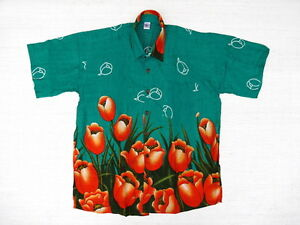 Hawaiihemd Hawaii Hawai Hemd SALE !! grün Tulpen orange