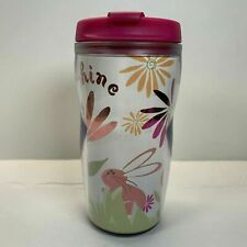 Rare Starbucks Pink Tumbler Spring 2004 Pink Rabbit Flowers Sunshine  New