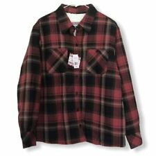 Womens Lined Maxsell Flanel Burgundy and Black Button Down Top Size L New
