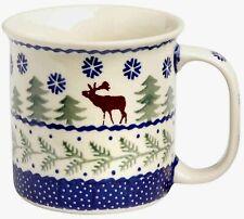 Boleslawiec Polish Pottery Mug Christmas Tree Moose Winter Coffee Tea Cup Lodge