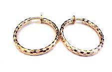 CLIP-ON EARRINGS SHINY GOLD PIPE HOOP EARRINGS 1 INCH HOOPS NON PIERCED EARS