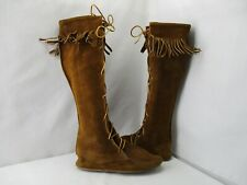 Minnetonka Moccasin 1922 Hard Sole Knee High Leather Fringe Boots Mens Size 7