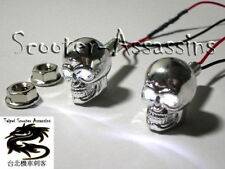 CHROME SKULL WHITE LED lamps/lights Number/Licence plate bolts, pair  SCTZ