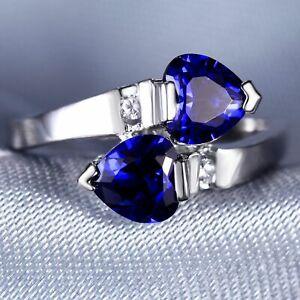 Handmade Natural 2.25ct Sapphire  Size US 7 14K White Gold Ring CM96