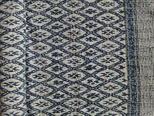 Indian Block Print Kantha Quilt Reversible Indigo Ikat Bedspread Cotton Ralli