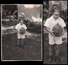 FREAK FACE HALLOWEEN MASK BOY w JACK-O-LANTERN~ 1930s VINTAGE COSTUME PHOTO