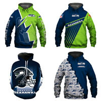 Seattle Seahawks Hoodie 3D Print Sweatshirt Football Hooded Pullover Jacket Coat