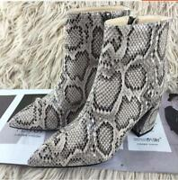 Women Shoes High Heel Block Pointy Toe Ankle Boots Snakeskin Side Zipper Zsell
