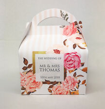 Personalised Peach Gold Floral Wedding Party Hen Baby Shower Favour Gift Box