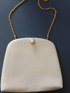 Vintage Oroton bag clutch  Cross Body  Cream White Cow Hide Leather Gold Chain
