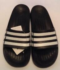 94b204e43cfa JUNIOR ADIDAS DURAMO SLIDERS-SANDALS- BEACH POOL GYM - BLACK WHITE
