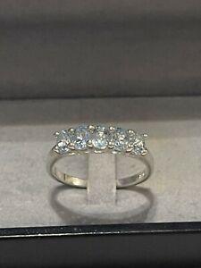 Silber Ring Aquamarin Bandring  Vorsteckring Edelstein 925 Silber rar Vintage