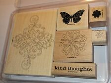 """Stampin Up """"Kind Thoughts"""" Rubber Stamp Set, Butterfly, flowers"""
