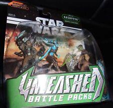 2005  STAR WARS. UNLEASHED BATTLE PACKS.YODA, CHEWBACCA, CAPTAIN TAREFUL AAYLA