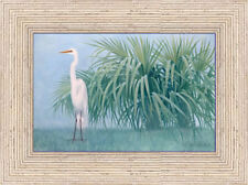 Tropical SNOWY EGRET Florida 12x18 Framed Giclee Art Canvas **SALE