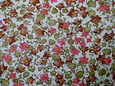 "1 Yard Pink & Brown Floral On White Print Woven Fabric Synthetic 45"" Wide"