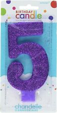 5th Birthday Candle Cake Topper Number Party Age Decor Bday Decoration Candles 5
