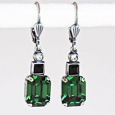 Ohrringe Ohrhänger Silber Altsilber Swarovski Kristall - Green Turmalin - grün