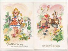 2 x Künstler Ak Schulanfang um 1960 Kinder Schulranzen Gans DDR ! (A1616