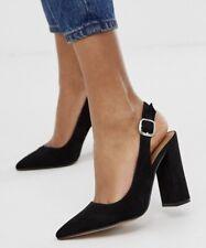 "ASOS Penley Design Black Slingbacks - 4"" Block Heels - Size UK2 - BNIB"