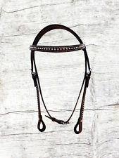 SHOW EVENT PARADE WESTERN BRIDLE BROWN LEATHER TRAIL PLEASURE HORSE HEADSTALL