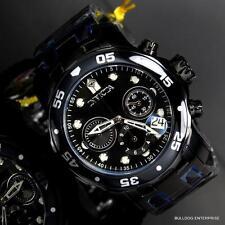 Invicta 48mm Pro Diver Scuba Black Steel Chronograph Swiss Parts Watch New