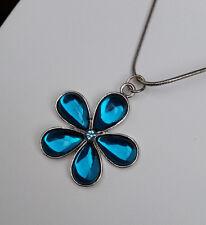 Schlangenkette Anhänger 3,5 cm Blume silber Mode-Stein türkis blau Strass *NEU*