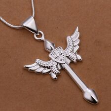 Necklace Cross Chain Goth Angel Wing 925 Sterling Silver Pendant Solid Gift Bag