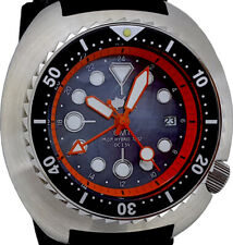 GMT mod diver watch with BIG 49mm TURTLE case Black MOP dial SAWTOOTH BEZEL