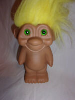 """1991 Vintage Troll Doll Bank Yellow Hair Green Haired Plastic Toy 9"""""""