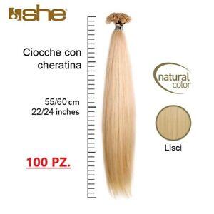 100 ciocche Extension cheratina She Socap capelli 100% naturali, 55/60cm, Remy