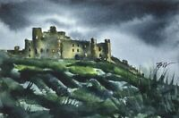 6 x 4 inch Signed Painting ' Castle on Rocks ' by Bill Lupton