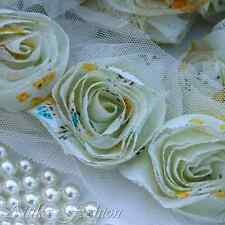 Pastel Green --- Chiffon Lace Mesh Fabric Trim *Per 10 Flowers*