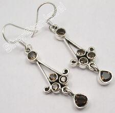 "925 Pure Silver Wonderful Brown Smoky Quartz 5 Gems Brand New Earrings 2"""