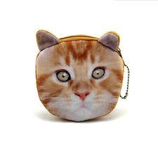 1pcs Golden Yellow Cat Face Wallet Zipper Case Coin Purse Womens Girls Pouch