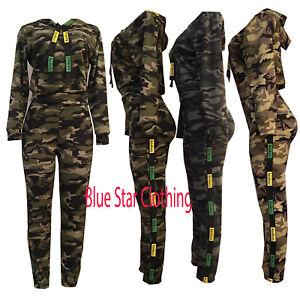 WOMENS 2PCS CAMO ARMY PRINT SOFT PANTS JOGGING TOP LOUNGEWEAR TRACKSUIT SET 8-16