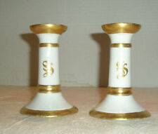 Antique Limoges France 1910 Candle Holders White Gold Trim
