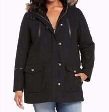 Torrid Faux Fur Hood Wool Coat Black 0X Large 12 0 #75150