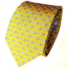 """Salvatore Ferragamo Krawatte GELB """"White Terrier Dogs"""" Neu mit Etikett !!!"""