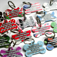 Custom Pet Tags Personalised Pet ID Dog Name Tags Unique Pet Tag -Engraved FREE