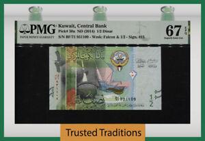 TT PK 30a ND (2014) KUWAIT CENTRAL BANK 1/2 DINAR PMG 67 EPQ SUPERB GEM UNC!